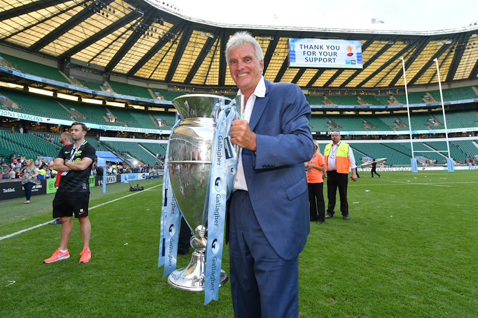 LONDON, ENGLAND - JUNE 01: Nigel Wray, Chairman of Saracens, celebrates with the trophy following the Gallagher Premiership Rugby Final between Exeter Chiefs and Saracens at Twickenham Stadium on June 01, 2019 in London, United Kingdom. (Photo by Dan Mullan/Getty Images)