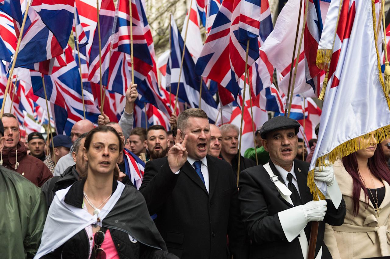 LONDON, UNITED KINGDOM - APRIL 01: Britain First Leader, Paul Golding (C) leads March Against Terrorism on April 01, 2017 in London, England.  Supporters of far-right political movement Britain First gathered in central London to protest against Islam and Islamic terrorism in the wake of the recent Westminster terror attack.   PHOTOGRAPH BY Wiktor Szymanowicz / Barcroft Images  London-T:+44 207 033 1031 E:hello@barcroftmedia.com - New York-T:+1 212 796 2458 E:hello@barcroftusa.com - New Delhi-T:+91 11 4053 2429 E:hello@barcroftindia.com www.barcroftimages.com (Photo credit should read Wiktor Szymanowicz / Barcroft Im / Barcroft Media via Getty Images)