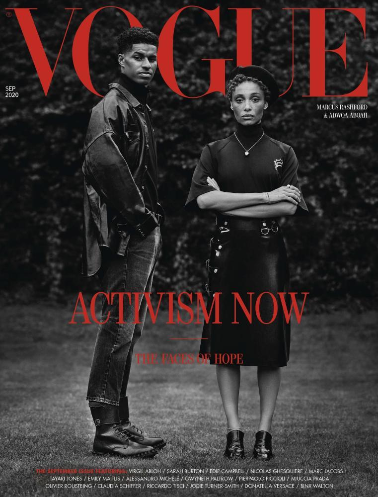 British Vogue September 2020 cover featuring Marcus Rashford and Adwoa Aboa.
