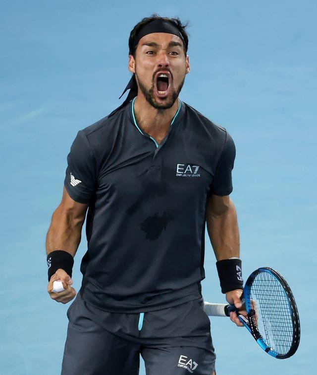 Italy's Fabio Fognini celebrates his win over Australia's Alex De Minaur