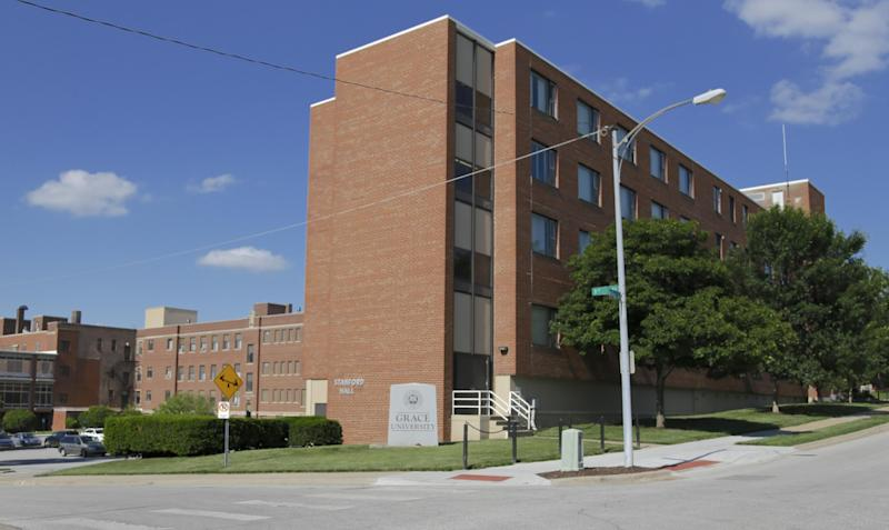 The campus of Grace University is pictured in Omaha, Neb., Wednesday, June 12, 2013. The Omaha Christian college has revoked the student-athlete scholarship of Danielle Powell and expelled her because she was public about a same-sex relationship. The college also is demanding payment of tuition and won't send her transcripts to other schools until she pays off her bill. (AP Photo/Nati Harnik)
