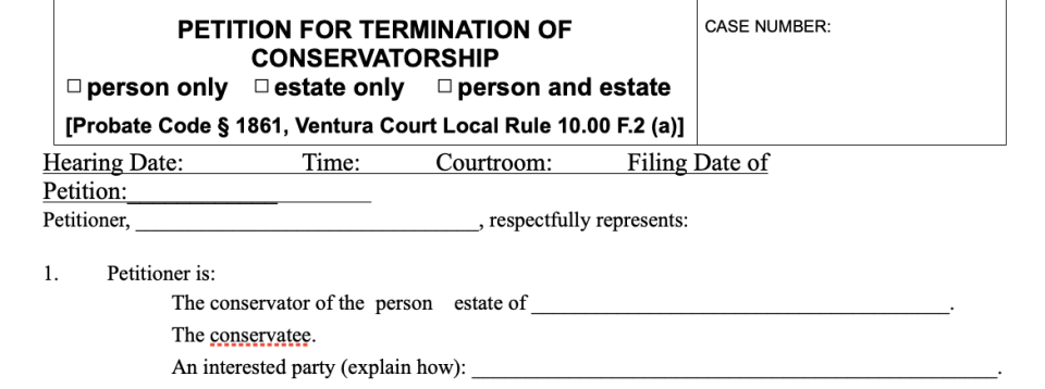 Petition for Termination of Conservatorship form in California.