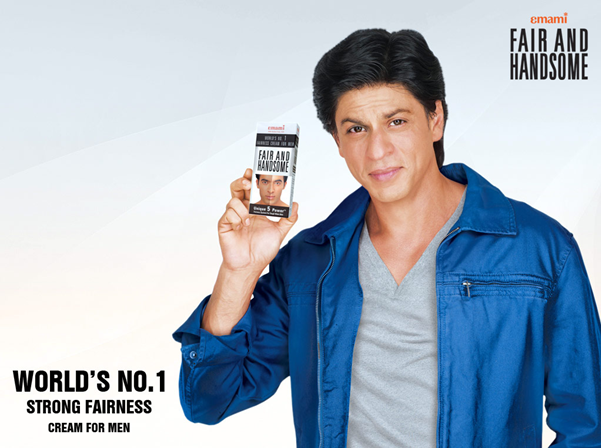 """As the face of Emami fair and Handsome, Shah Rukh Khan was the first male star to endorse a men's fairness cream. In one of the ads, Khan is shown talking about his journey to super stardom, and while he does not extol the benefits of the cream directly, it is seen accompanying him in his bag. The punch line hits hard too, """"Har koi Shah Rukh nahi ban sakta, par handsome toh koi bhi hok sakte hai.""""The message is quite clear – be fair, be handsome and be successful."""