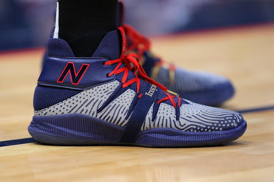 Kawhi Leonard's New Balance sneakers will remain Klaw-less. (Photo by Jonathan Bachman/Getty Images)