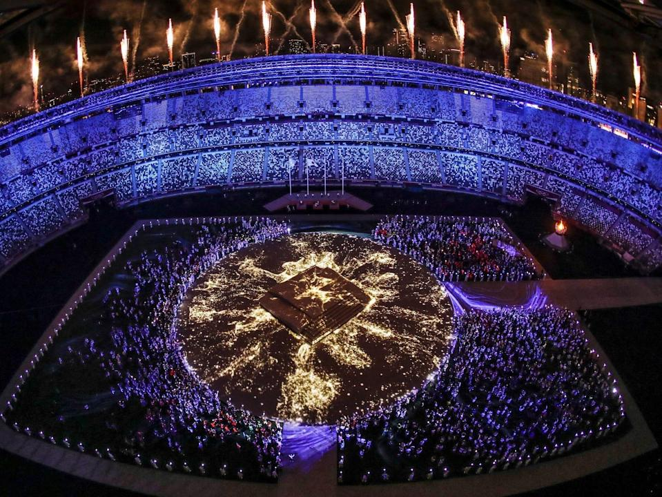 A lights show during the Tokyo Olympics closing ceremony.