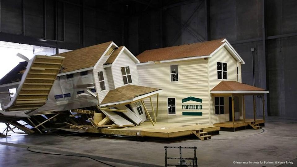 At the IBHS facility in Chester County, replicated hurricane conditions are used to test the strength of buildings and homes.