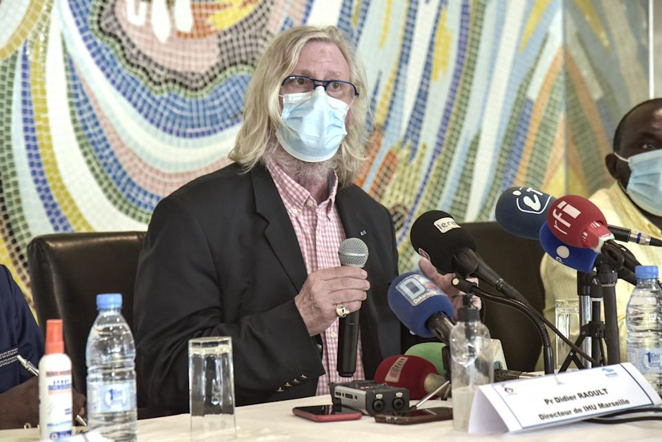 French medicine Professor Didier Raoult speaks during a press conference at the Institute for Health Research, Epidemiological Surveillance and Training (IRESSEF) in Dakar on March 31, 2021. (Photo by Seyllou / AFP) (Photo by SEYLLOU/AFP via Getty Images)