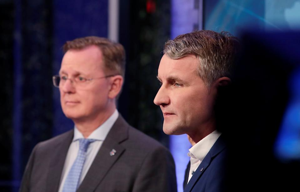 Bodo Ramelow, Thuringia State Prime Minister and top candidate of the Left Party (Die Linke) and Bjoern Hoecke, Alternative for Germany (AfD) top candidate for the Thuringia state election are seen at the state parliament in Erfurt, Germany October 27, 2019. REUTERS/Axel Schmidt
