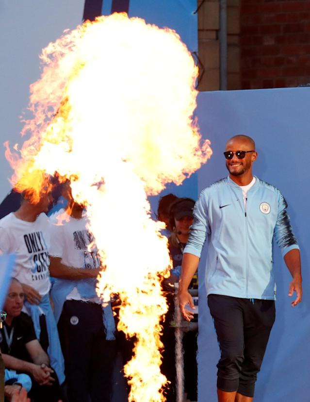 Soccer Football - Premier League - Manchester City Premier League Title Winners Parade - Manchester, Britain - May 14, 2018 Manchester City's Vincent Kompany on stage during the parade Action Images via Reuters/Andrew Boyers