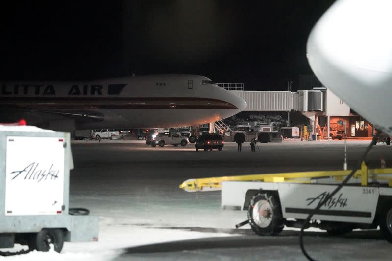 An aircraft chartered by the U.S. State Department to evacuate government employees from the novel coronavirus threat in the Chinese city of Wuhan, arrives at Ted Stevens Anchorage International Airport