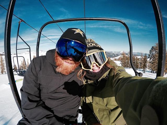 <p>Snowboarder Hailey Langland snaps a selfie with her father on the slopes. (Instagram | @mikaelashiffrin ) </p>