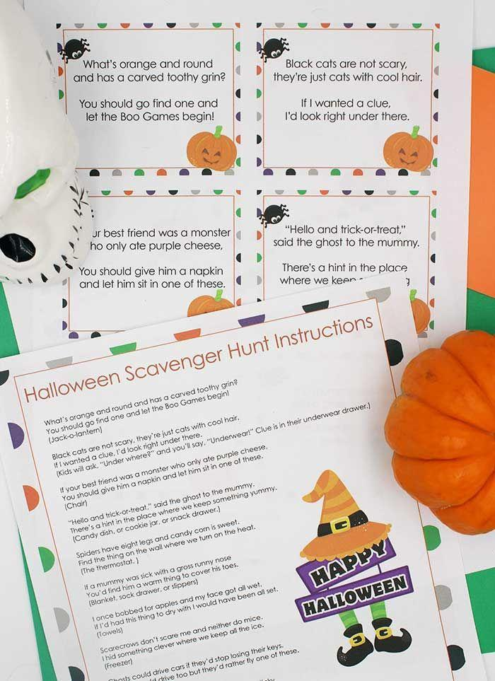 "<p>Whether you play it outside or in, a scavenger hunt with funny clues is always a hit. </p><p><strong>Get the tutorial at <a href=""https://www.sunnydayfamily.com/2017/10/halloween-scavenger-hunt.html"" rel=""nofollow noopener"" target=""_blank"" data-ylk=""slk:Sunny Day Family"" class=""link rapid-noclick-resp"">Sunny Day Family</a>. </strong></p>"