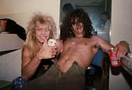 <p>Steven Adler and Slash of Guns N' Roses backstage at the Santa Monica Civic Auditorium after opening for Ted Nugent on August 30, 1986.</p>