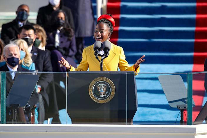 Youth Poet Laureate Amanda Gorman speaks at the inauguration of U.S. President Joe Biden on the West Front of the U.S. Capitol on Wednesday, January 20, 2021, in Washington, D.C. / Credit: Rob Carr/Getty Images