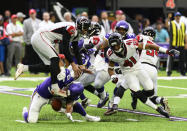 Eric Wilson #50 of the Minnesota Vikings blocks the punt of Matt Bosher #5 of the Atlanta Falcons in the first quarter of the game at U.S. Bank Stadium on September 8, 2019 in Minneapolis, Minnesota. The Vikings recovered the ball on the play. (Photo by Stephen Maturen/Getty Images)