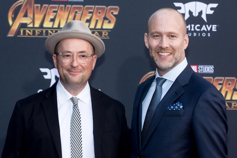 "LOS ANGELES, CA - APRIL 23: Screenwriters Christopher Markus (L) and Stephen McFeely attend the ""Avengers: Infinity War"" World Premiere on April 23, 2018 in Los Angeles, California. (Photo by Greg Doherty/Patrick McMullan via Getty Images)"