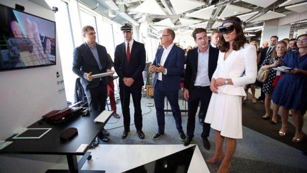PHOTO: Britain's Prince William and Duchess Catherine look through a virtual reality goggles as they meet with young Polish entrepreneurs at the Heart business incubator in the Warsaw Spire building in Warsaw, Poland, July 17, 2017. (Leszek Szymanski/EPA)