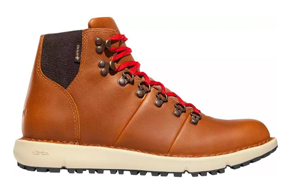 hiking boots, tan, leather, red laces, daner