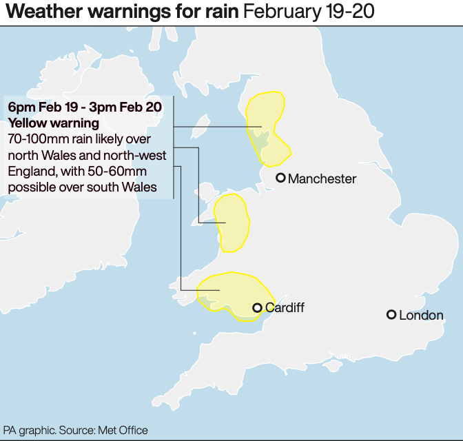 Weather warnings remain in place on Wednesday. (PA)