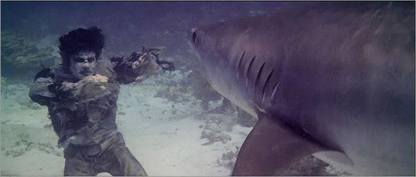"""<a href=""http://movies.yahoo.com/movie/zombie/"">Zombie</a>"" (1979)<br>This film comes straight from the demented mind of one of the hardest working men in horror, Lucio Fulci. Reportedly, the shark scene was filmed in a giant salt water tank with a shark who had been fed horse meat and sedatives."