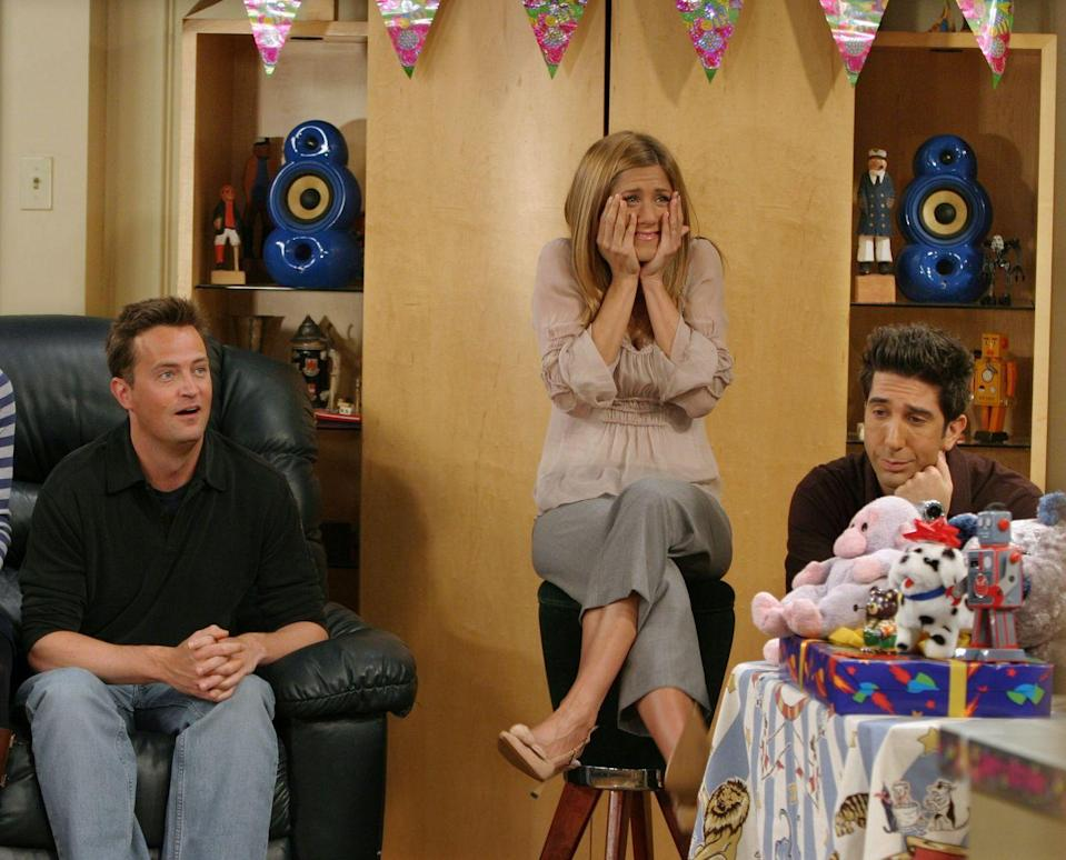 """<p>In 2004, Aniston said goodbye to the show that made her a mega star, a hair icon, and (along with her castmates) a very <a href=""""https://www.businessinsider.com/how-friends-cast-got-1-million-per-episode-salary-2016-10"""" rel=""""nofollow noopener"""" target=""""_blank"""" data-ylk=""""slk:highly paid"""" class=""""link rapid-noclick-resp"""">highly paid</a> actress. Though <em>Friends </em>was slated to have 24 episodes in its last season, Jen's busy <a href=""""https://uproxx.com/tv/10-thing-you-might-not-know-about-the-friends-finale-on-its-10th-anniversary/"""" rel=""""nofollow noopener"""" target=""""_blank"""" data-ylk=""""slk:movie career"""" class=""""link rapid-noclick-resp"""">movie career</a> only made it possible to shoot 18. The finale drew in 52.5 million viewers.</p>"""
