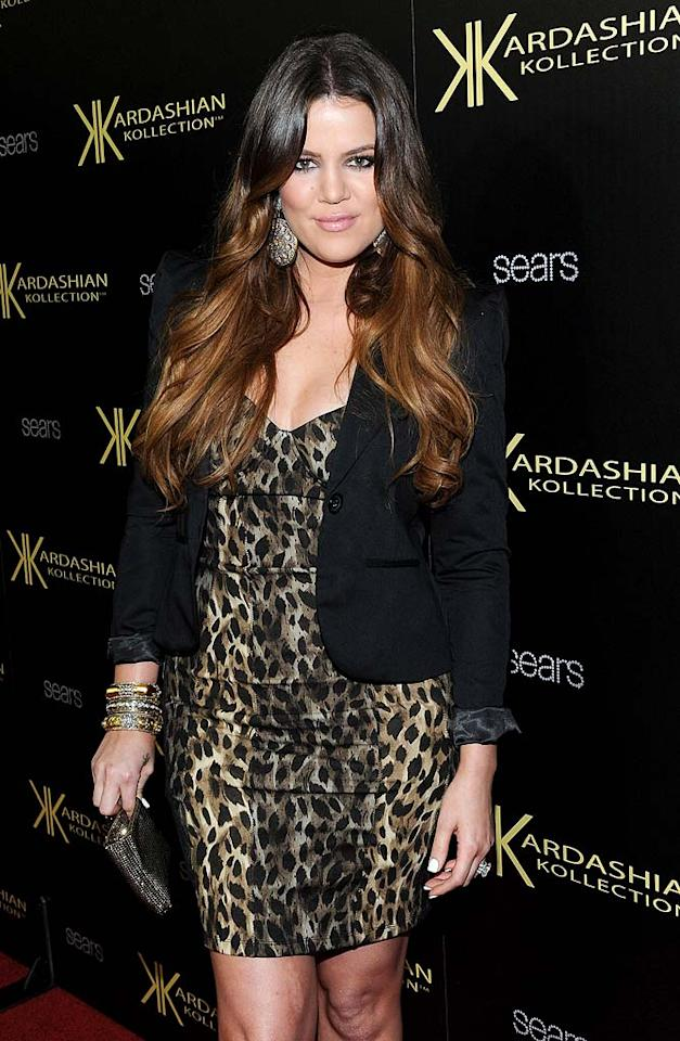 If the Kardashians had a signature pattern, then animal print would be it! Khloe sported the diva-esque trend at a launch party for the Kardashian Kollection. (08/07/2011)