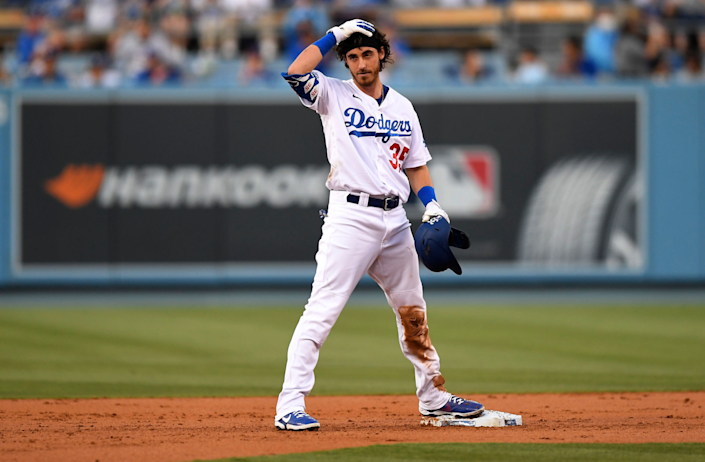 The Dodgers' Cody Bellinger reacts after hitting a first-inning RBI double to end an 0-for-25 skid.