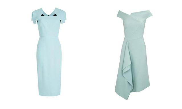 From left: Roland Mouret Royston Cap-Sleeve Square-Neck Wool Sheath Dress; Roland Mouret Barwick Draped Wool Crepe Dress (Photos: StyleBop, Harvey Nichols)