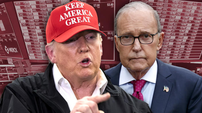President Trump and Larry Kudlow, director of the National Economic Council. (Photo illustration: Yahoo News; photos: AP (3))