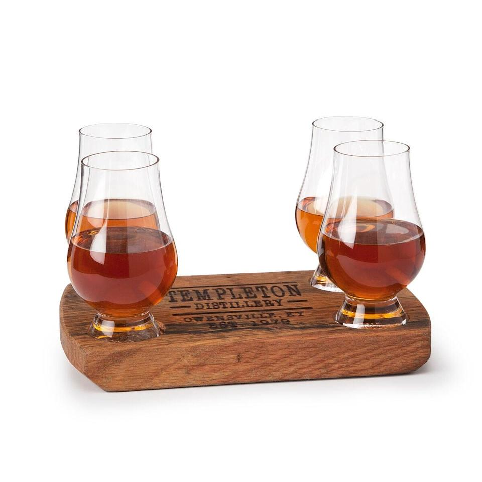 <p>For the whiskey-lovers, this <span>Personalized Bourbon Barrel Flight with Glasses</span> ($75) is just the missing bar cart piece.</p>