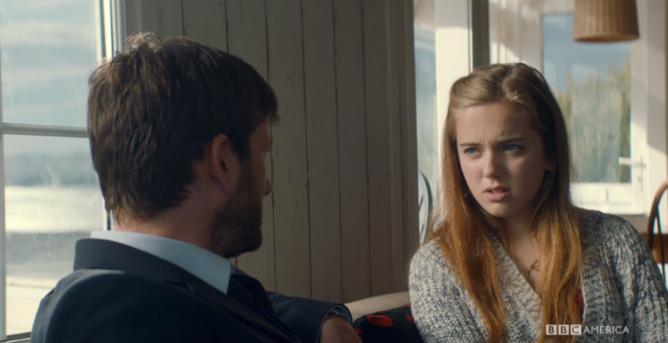 Daisy (Hannah Rae) feels her dad (David Tennant) is a cop first and a father second. (Credit: BBC America)