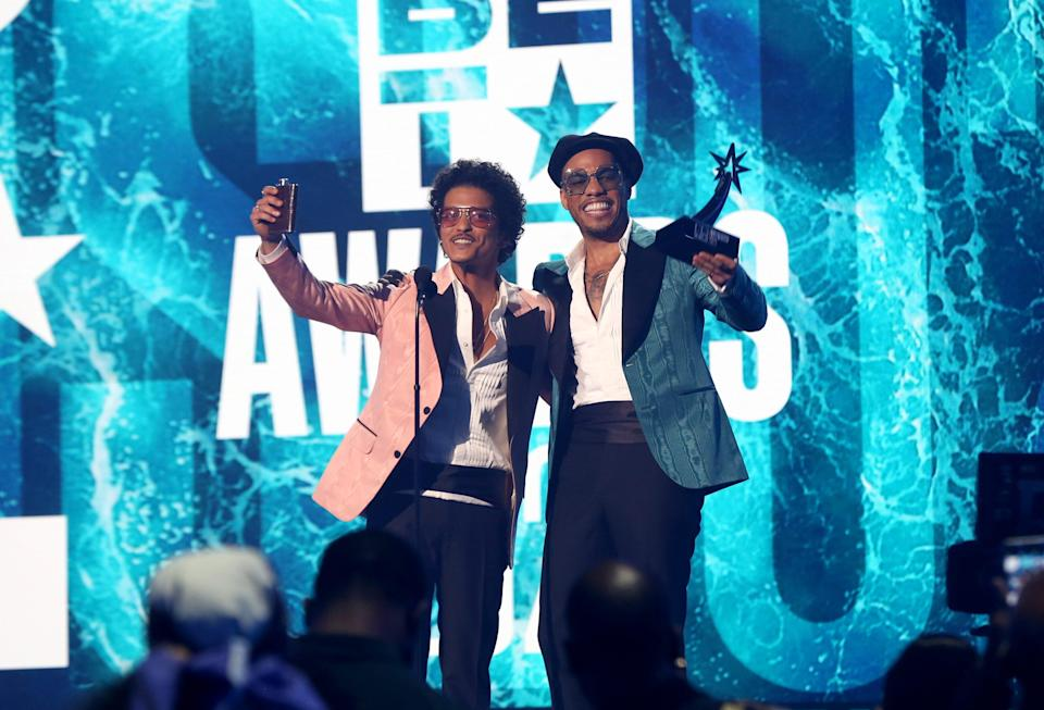 Bruno Mars, left, and Anderson .Paak of Silk Sonic.