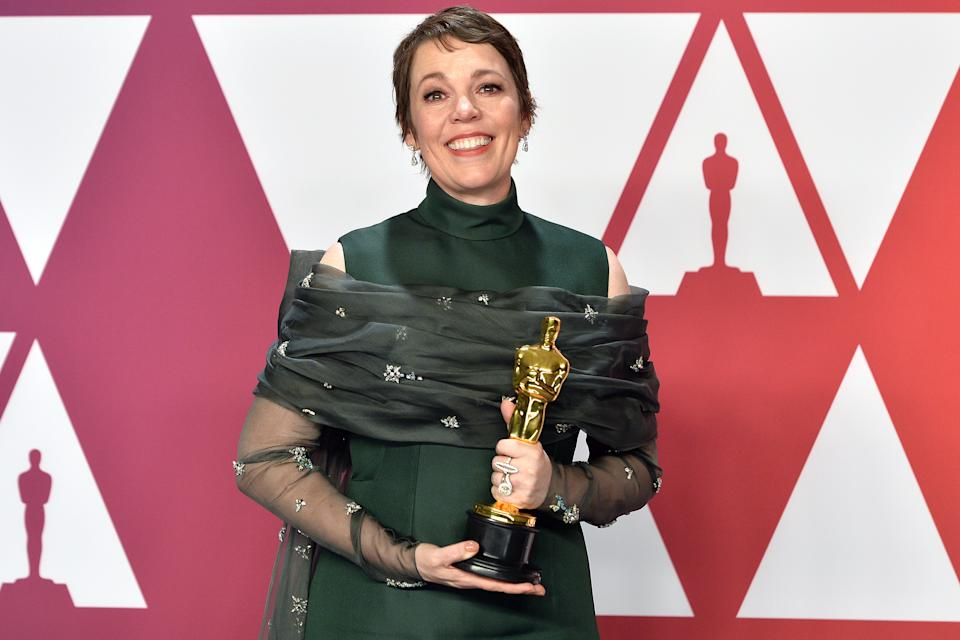 Olivia Colman, winner of Best Actress for 'The Favourite,' poses in the Press Room at the 91st Academy Awards Oscars Ceremony held at the Dolby Theatre located at the Hollywood & Highland Center in Los Angeles, California on Feb. 24, 2019. (Photo by Anthony Behar/Sipa USA)