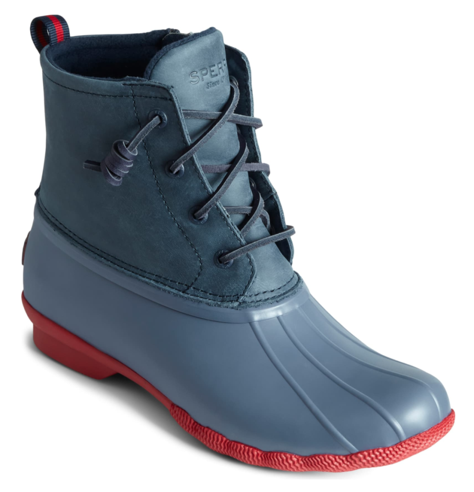Sperry Saltwater Waterproof Rain Boot in Navy and Red Leather