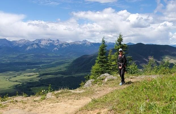 Debbie Medinski on a walk, trying to cover the distance to reach her children's homes across Alberta and BC.  (Submitted by Danika Medinski - image credit)