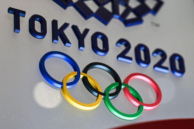 The Tokyo 2020 Olympics Games logo is seen in Tokyo on January 28, 2021. (Photo: CHARLY TRIBALLEAU via Getty Images)