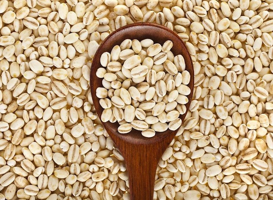 barley with wooden spoon