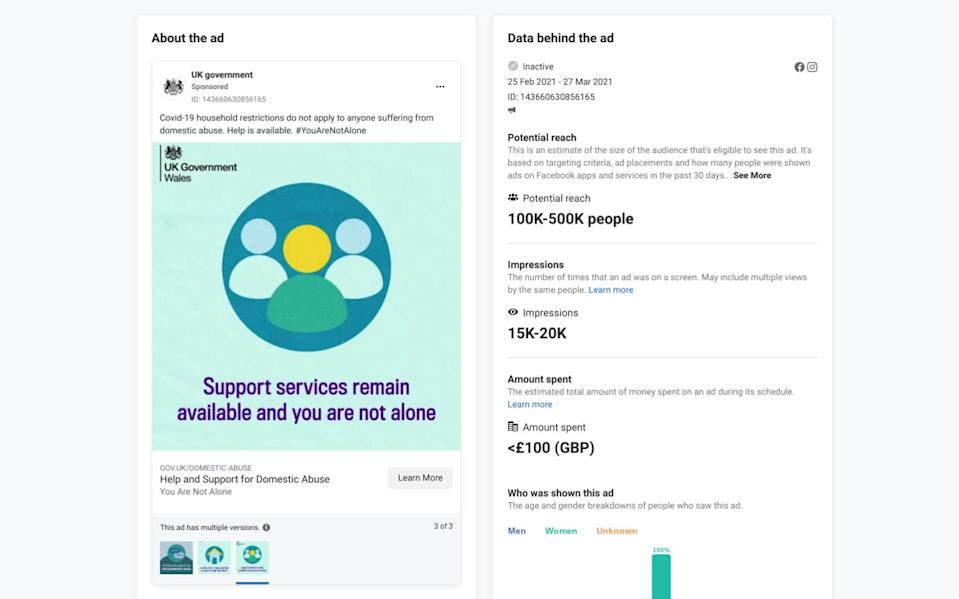 """A screenshot from Facebook's ad library shows an ad for domestic violence help, with an image in cool, restful green and blue colours that says """"Support services remain available and you are not alone."""" A caption says: """"Covid-19 household restrictions do not apply to anyone suffering from domestic abuse. Help is available."""" - Facebook Ad Library/HM Government"""