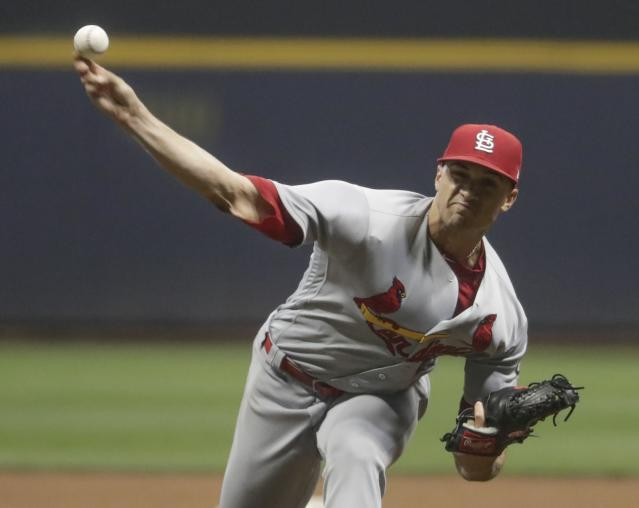 St. Louis Cardinals starting pitcher Jack Flaherty throws during the seventh inning of a baseball game against the Milwaukee Brewers Friday, June 22, 2018, in Milwaukee. (AP Photo/Morry Gash)