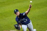 Seattle Mariners starting pitcher Nick Margevicius throws a pitch to the Baltimore Orioles during the fourth inning of the second game of a baseball doubleheader, Tuesday, April 13, 2021, in Baltimore. (AP Photo/Julio Cortez)