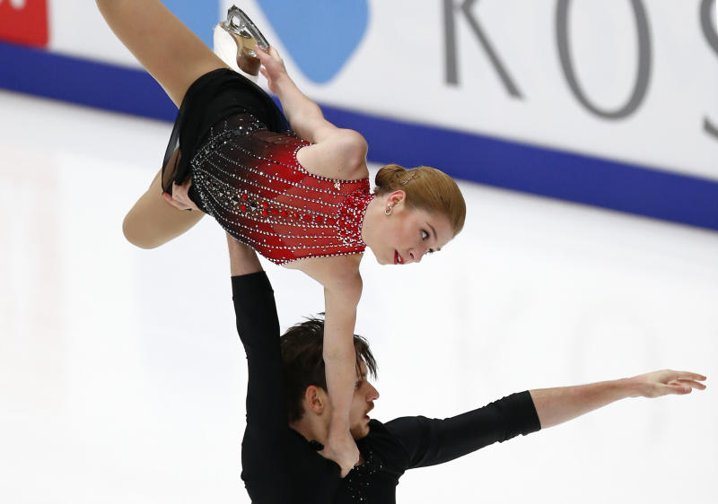 Ekaterina Alexandrovskaya and Harley Windsor of Australia perform in the pairs free skating program during the ISU Grand Prix of Figure Skating Rostelecom Cup in Moscow, Russia, Saturday, Nov. 17, 2018. (AP Photo/Alexander Zemlianichenko)