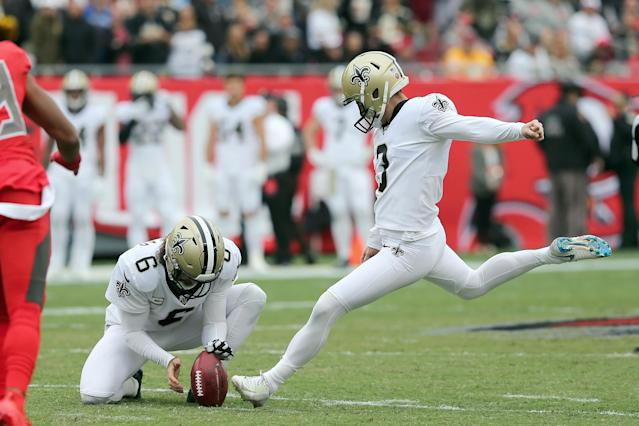 Wil Lutz has been one of the best kickers in the game this season. (Photo by Cliff Welch/Icon Sportswire via Getty Images)