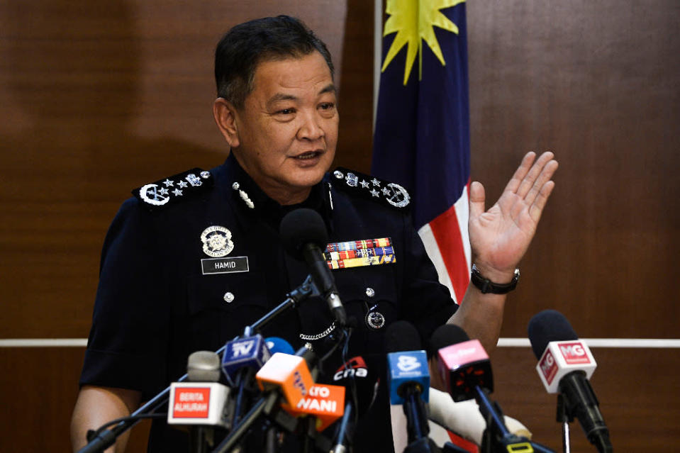 Inspector-General of Police, Tan Sri Abdul Hamid Bador Abdul Hamid said Malaysian police have contacted the authorities in Hong Kong for assistance to bring back the former chief executive of SRC International Sdn Bhd. — Picture by Miera Zulyana