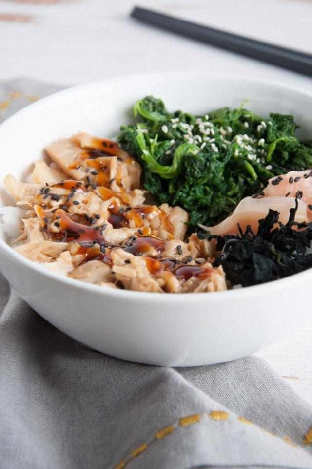 """<p>This <a href=""""http://www.drozthegoodlife.com/healthy-food-nutrition/healthy-recipe-ideas/recipes/a2191/tex-mex-salmon-bowl/"""" rel=""""nofollow noopener"""" target=""""_blank"""" data-ylk=""""slk:sushi bowl"""" class=""""link rapid-noclick-resp"""">sushi bowl</a><span> is extra filling and delicious thanks to some easy-to-make, teriyaki-flavored jackfruit.</span></p><p>Grab the recipe from <a href=""""http://www.elephantasticvegan.com/teriyaki-jackfruit-sushi-bowl/"""" rel=""""nofollow noopener"""" target=""""_blank"""" data-ylk=""""slk:Elephantastic Vegan"""" class=""""link rapid-noclick-resp"""">Elephantastic Vegan</a>.</p>"""