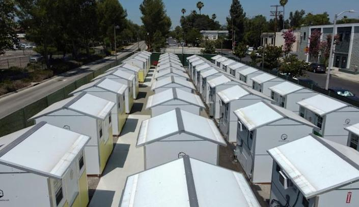 """Los Angeles has established several """"tiny home villages,"""" including this one in the Tarzana neighborhood, to help the homeless"""