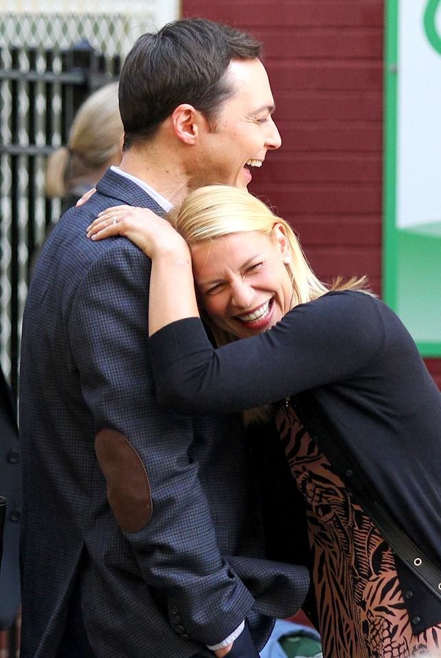 <p>What's so funny? The <i>Big Bang Theory</i> actor and the <i>Homeland</i> star had a good laugh in New York on the set of their upcoming film, <i>A Kid Like Jake</i>. (Photo: BrosNYC/BACKGRID) </p>