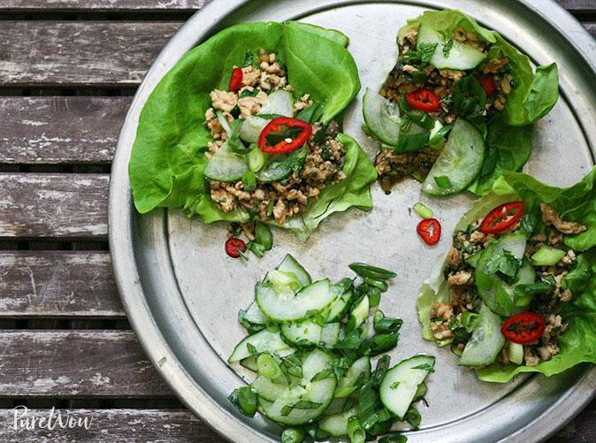 """<h2>16. Thai Lettuce Wraps</h2> <p>Taco's bright and spicy sister.</p> <p><a class=""""link rapid-noclick-resp"""" href=""""https://www.purewow.com/recipes/Thai-Lettuce-Wraps"""" rel=""""nofollow noopener"""" target=""""_blank"""" data-ylk=""""slk:Get the recipe"""">Get the recipe</a></p>"""