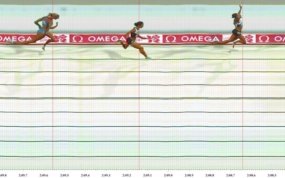 Ennis-Hill crosses the line in the 800m to seal Olympic gold - GETTY IMAGES