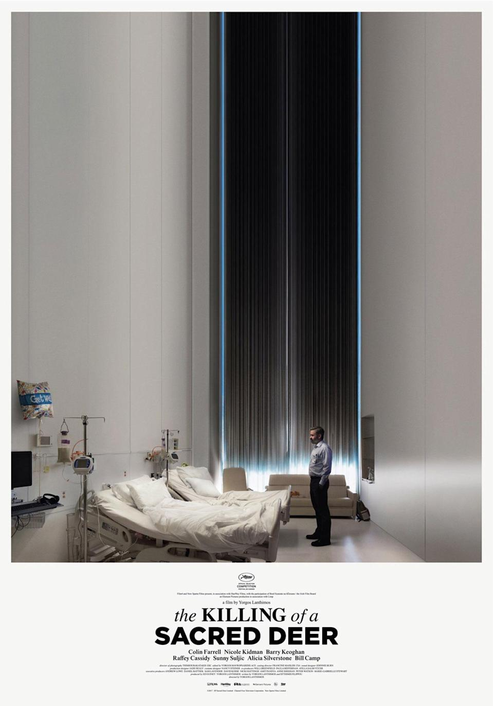 <p>At once both numbingly mundane and freakishly unbalanced, this vertiginous poster for the latest weirdfest from director Yorgos Lanthimos is right on the money – as if hospital rooms weren't already sterile enough. It's the balance between dark and light that hints at something otherworldly and sinister, and it's another winner from Lanthimos and Farrell – 2015's poster for 'The Lobster' was also brilliant. </p>
