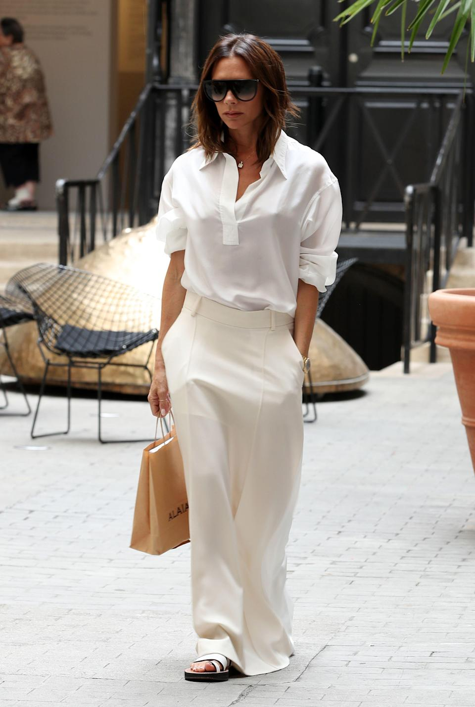 <p>On 5 July, Victoria Beckham was photographed out and about in Paris. Donning her eponymous label, the designer kept cool in neutral hues. <em>[Photo: Rex]</em> </p>